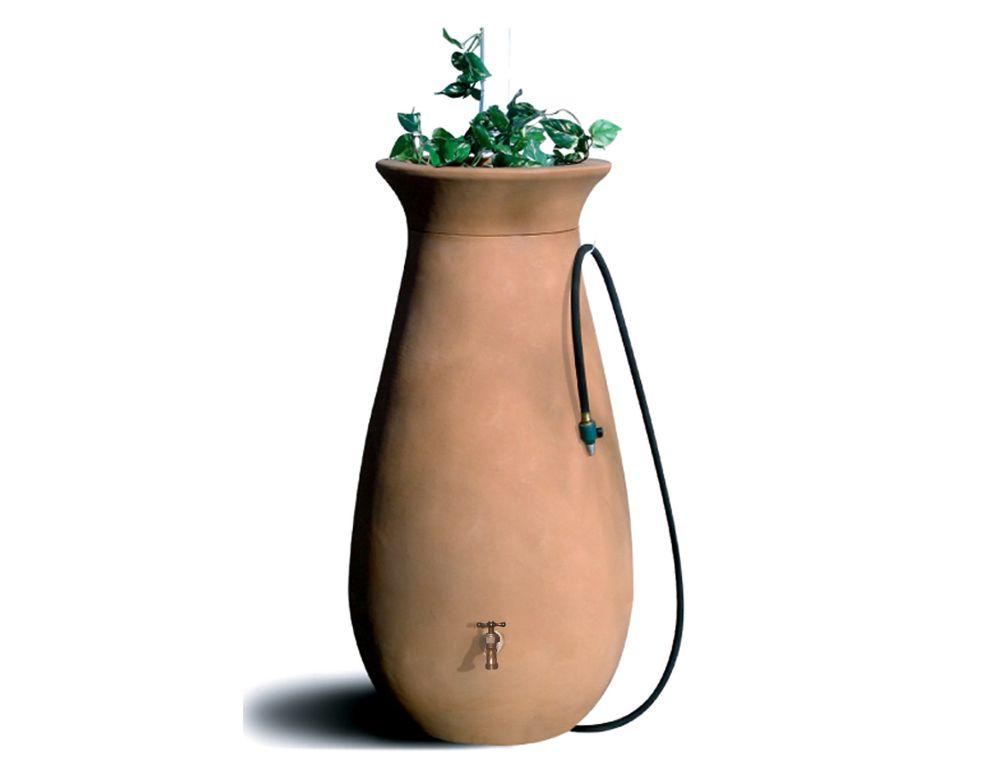 Cascata 65 gallon Decorative Rain Barrel with Integrated Planter - Terra Cotta