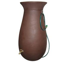 Algreen Products Cascata 65 Gal. Decorative Rain Barrel with Integrated Planter in Dark Brown
