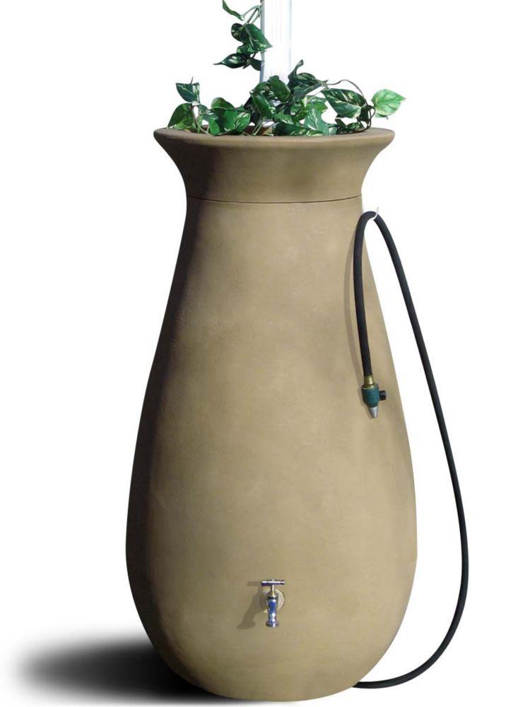 Baril de pluie décoratif Cascata 246 litres (65 gallons) avec jardinière intégrée - Bois de santa...