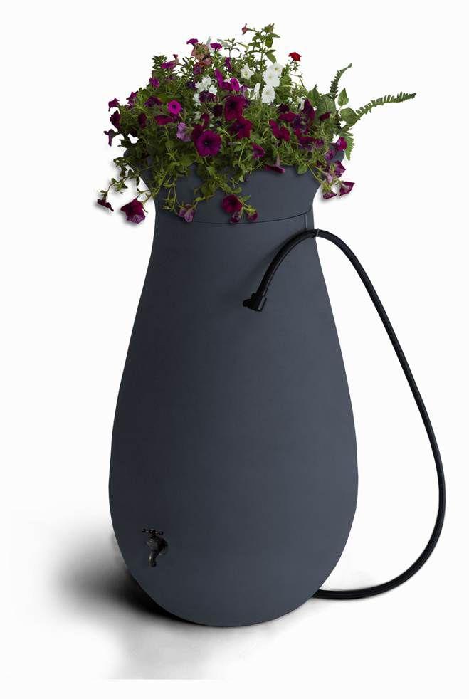 Cascata 65 gallon Decorative Rain Barrel with Integrated Planter - Slate Grey