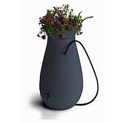 Algreen Products Cascata 65 Gal. Decorative Rain Barrel with Integrated Planter in Slate Grey