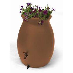Algreen Products Baril de pluie décoratif Castilla 189 litres (50 gallons) avec jardinière intégrée - Terre cuite
