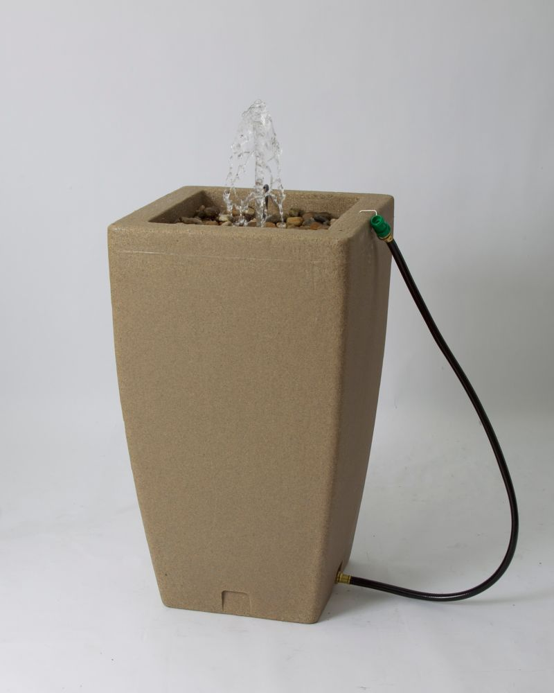 Madison 49 Gallon Decorative Fountain Rain Barrel - Sandstone