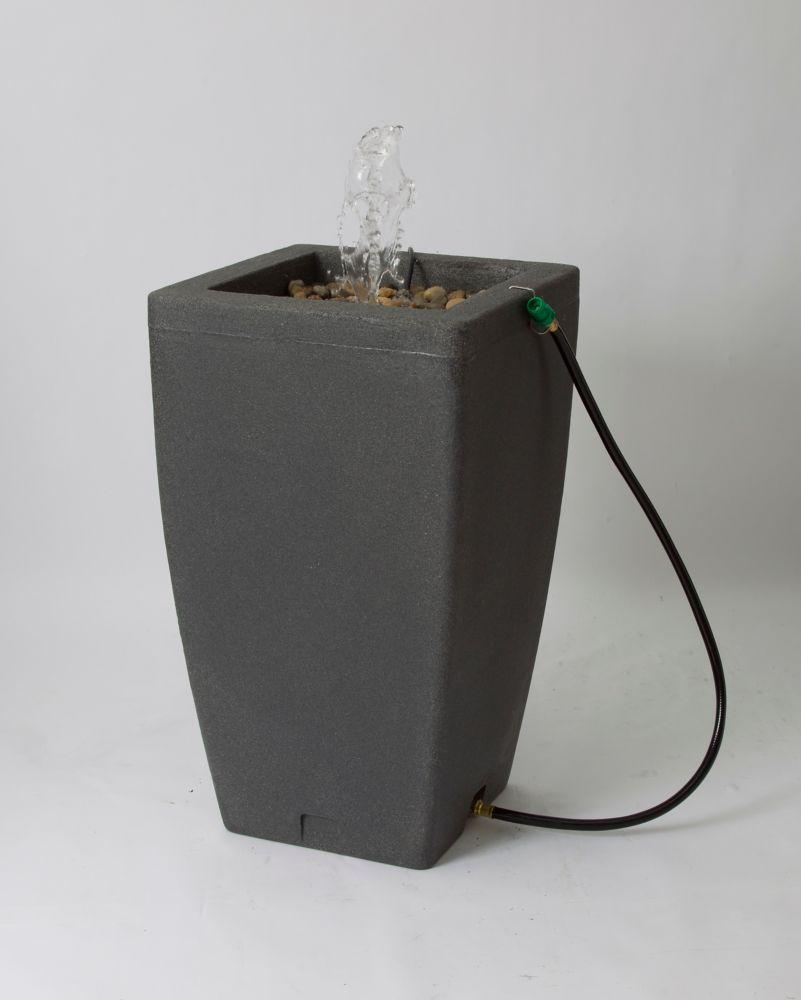 Madison 49 Gallon Decorative Fountain Rain Barrel - Dark Granite