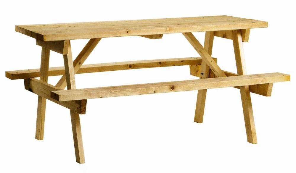 Table de pique-nique, pin massif