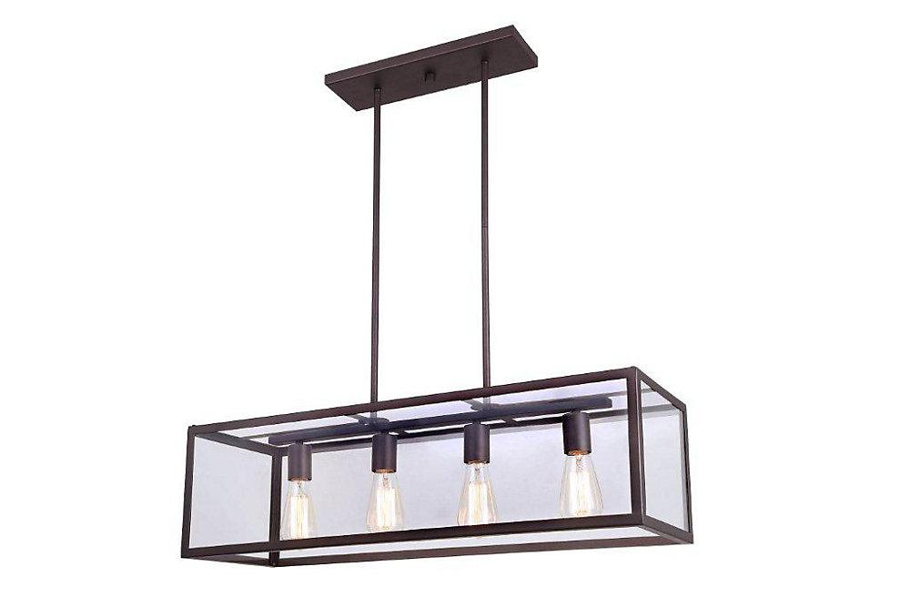 Lustre avec suspensions sphériques en verre transparent à 4 ampoules RAE, bronze huilé