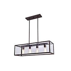 Canarm Ltd. RAE 4 Light Clear Glass ORB Chandelier in Oil-Rubbed Bronze