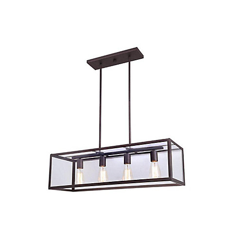 RAE 4 Light Clear Glass ORB Chandelier in Oil-Rubbed Bronze