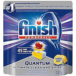 Finish Dishwasher Detergent, Quantum Max, Lemon, 45 Tablets, Shine and Glass Protect