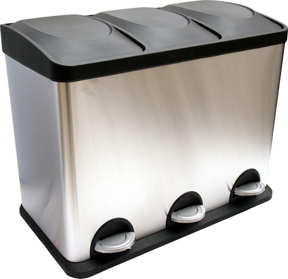 3-Compartment Waste and Recycling Bin