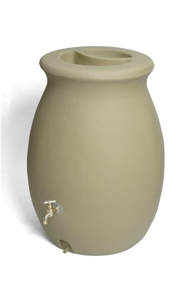 Castilla 50 Gallon Decorative Rain Barrel with Integrated Planter - Sandalwood
