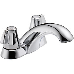 Classic Centerset (4-inch) 2-Handle Mid Arc Bathroom Faucet in Chrome with Lever Handles