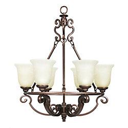 Home Decorators Collection Lustre Fairview à 6 lumières de 25,5 po - Bronze héritage avec abat-jour en verre soluble teinté de thé