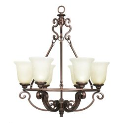 Home Decorators Collection Fairview 6 Light Chandelier 25.5 Inch - Heritage Bronze with Tea Stained Water Glass Shades