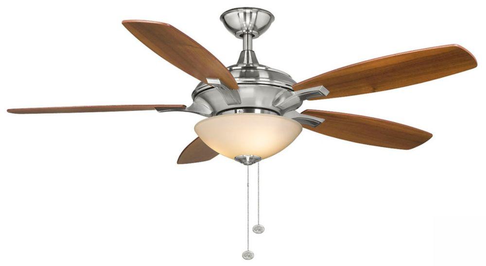 Hampton Bay Springview 52-inch 5-Blade 3-Light Brushed Nickel Indoor Ceiling Fan with Reversible Blades