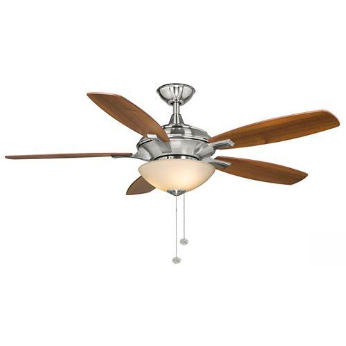 Hampton Bay Springview 52-inch Indoor Brushed Nickel Ceiling Fan with Light Kit