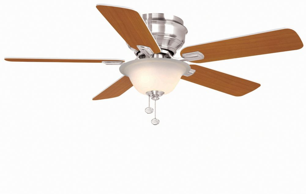 Hampton Bay Hawkins 44-inch 5-Blade Brushed Nickel Indoor Ceiling Fan with Light Kit and Reversible Blades