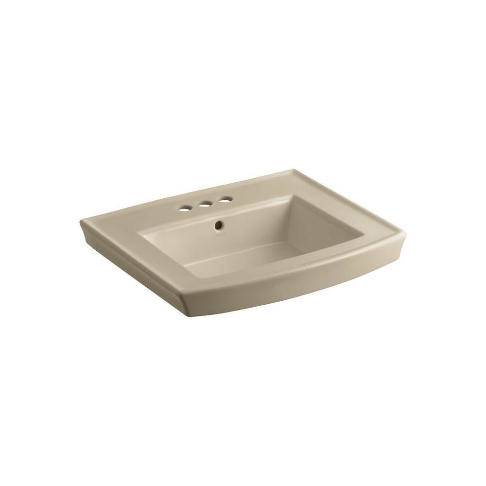 KOHLER Archer 24-inch L x 20 1/2-inch W Bathroom Pedestal Sink Basin with 4-inch Centres