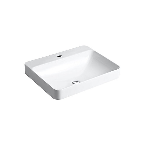 Vox(R) Rectangle vessel bathroom sink with single faucet hole