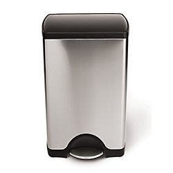Simplehuman 38 L Rectangular Brushed Stainless Steel Step-On Trash Can with Black Plastic Lid