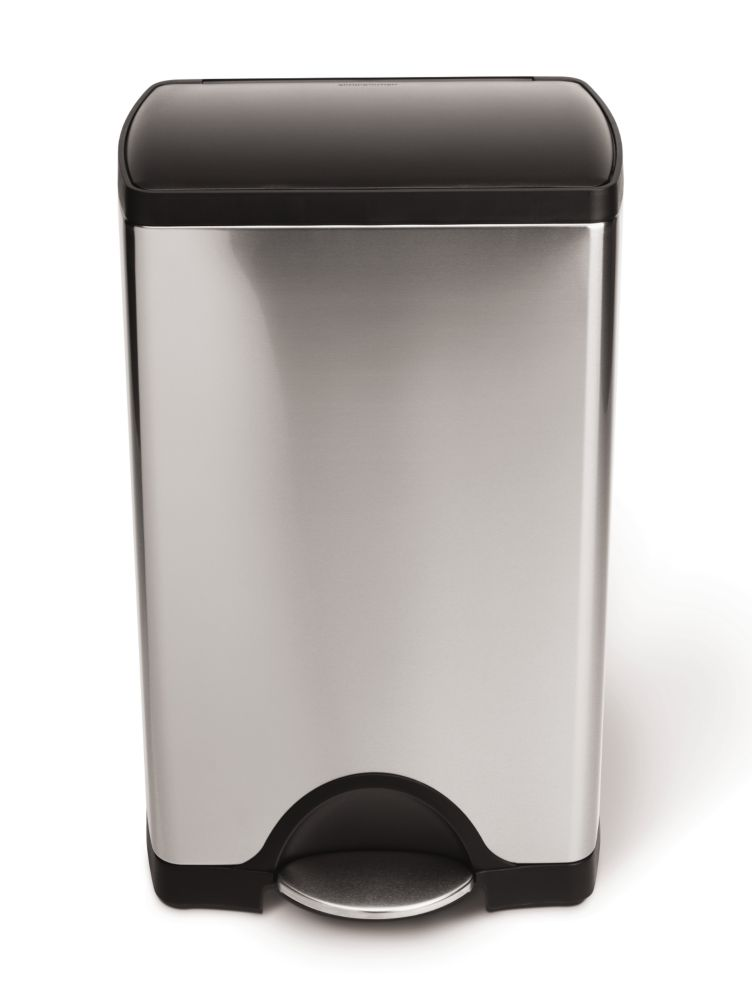 Stainless steel rectangular step can 38L, plastic lid
