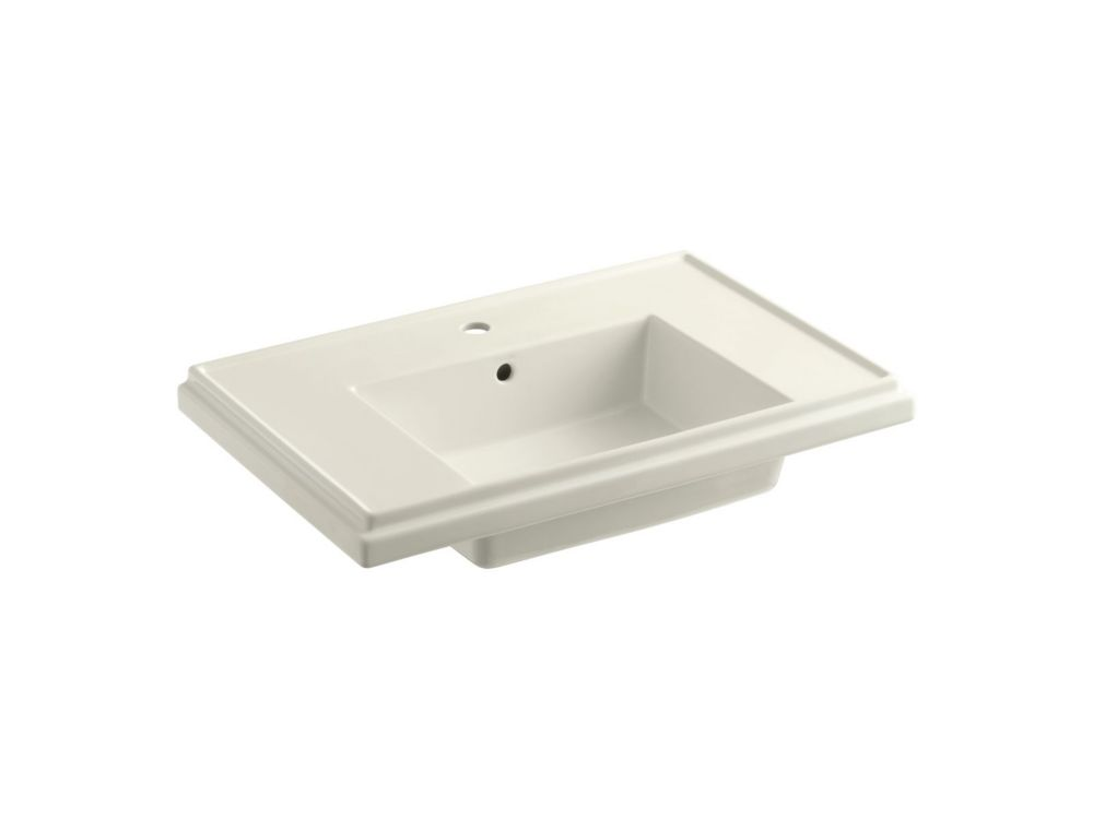 KOHLER Tresham 30-inch Bathroom Sink Basin with Single Hole Faucet Installation in Biscuit