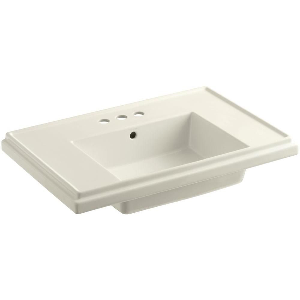 Tresham Bathroom Sink Basin with 4-inch Centerset Faucet Installation