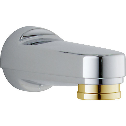 Pull-down Diverter Tub Spout in Chrome & Polished Brass