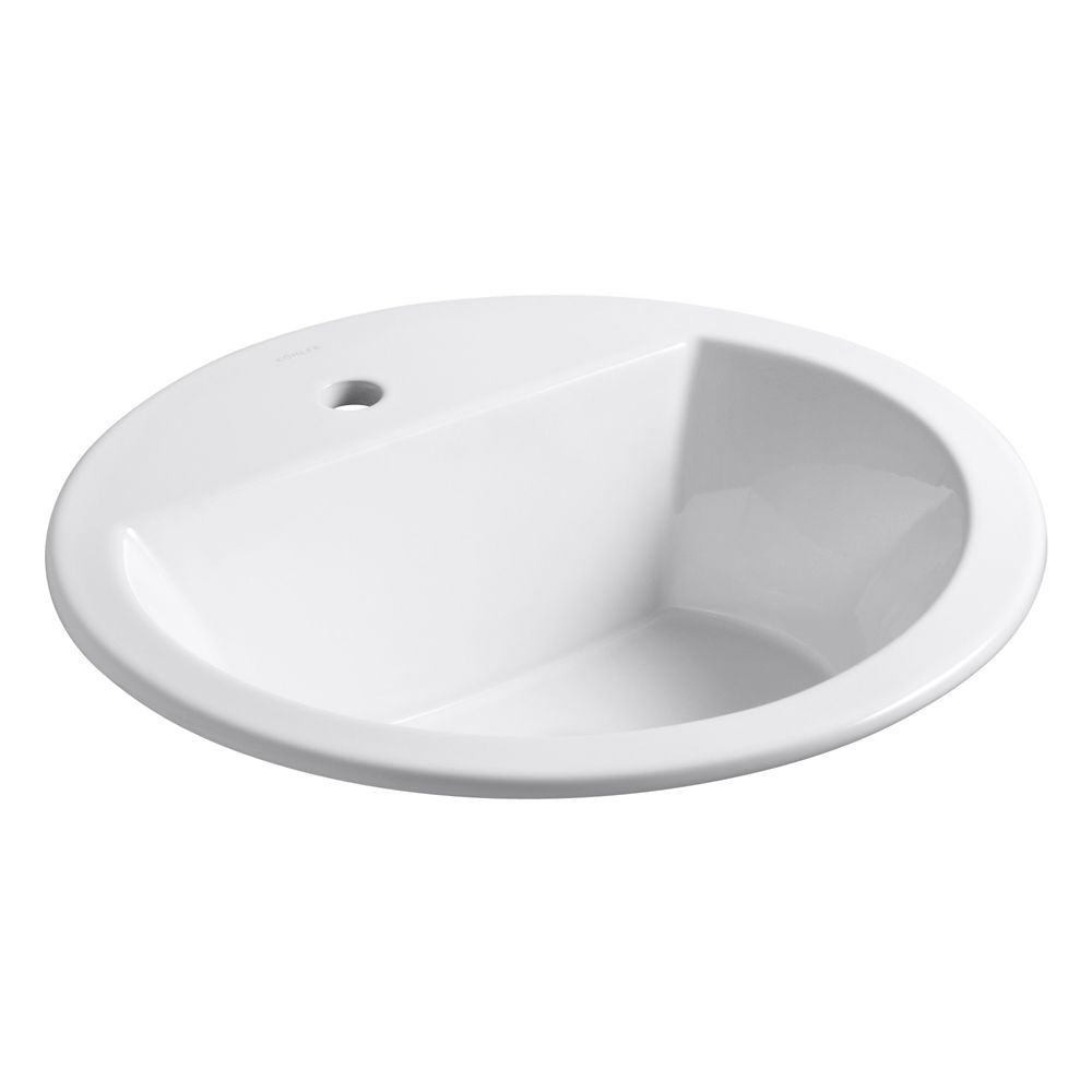 Bryant Round Self-Rimming Bathroom Sink with Single Hole Faucet Installation