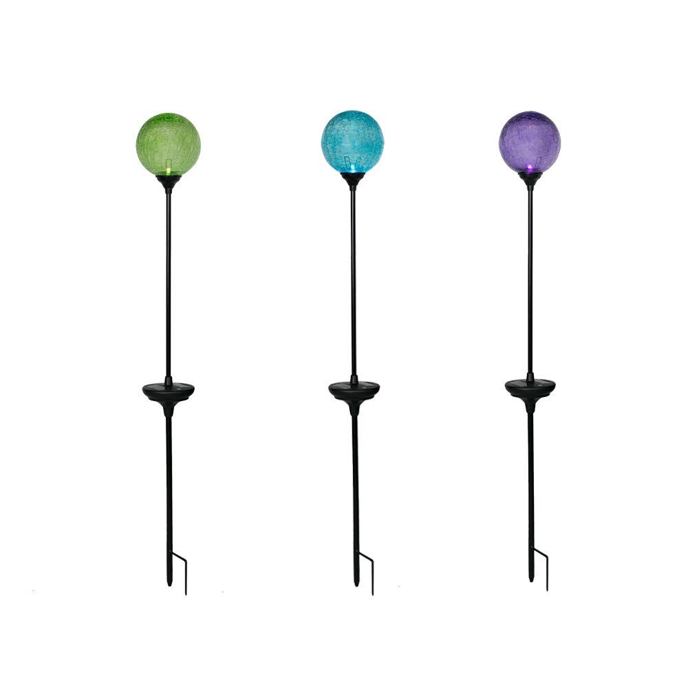 3 Pack Solar LED Color Changing Crackled Glass Globe Set