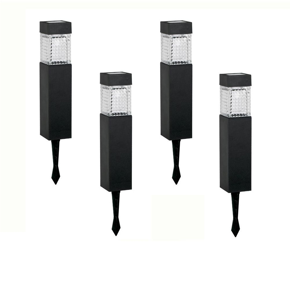 Hampton Bay 4 Pack Solar LED Square Walk Light Set