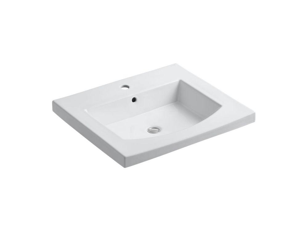 Bassin de lavabo avec dessus courbé Persuade(R) avec orifice unique de robinet