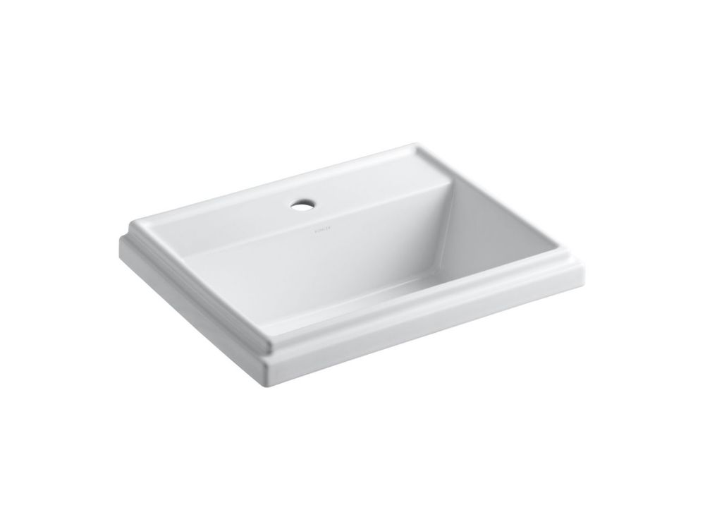 Tresham Rectangular Self-Rimming Bathroom Sink with Single Hole Faucet Installation