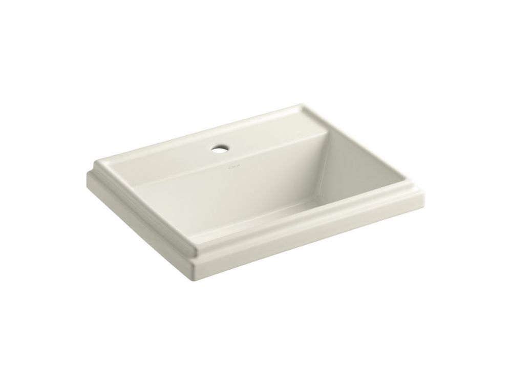 Tresham Rectangular Self-Rimming Bathroom Sink with Single Hole Faucet Installation