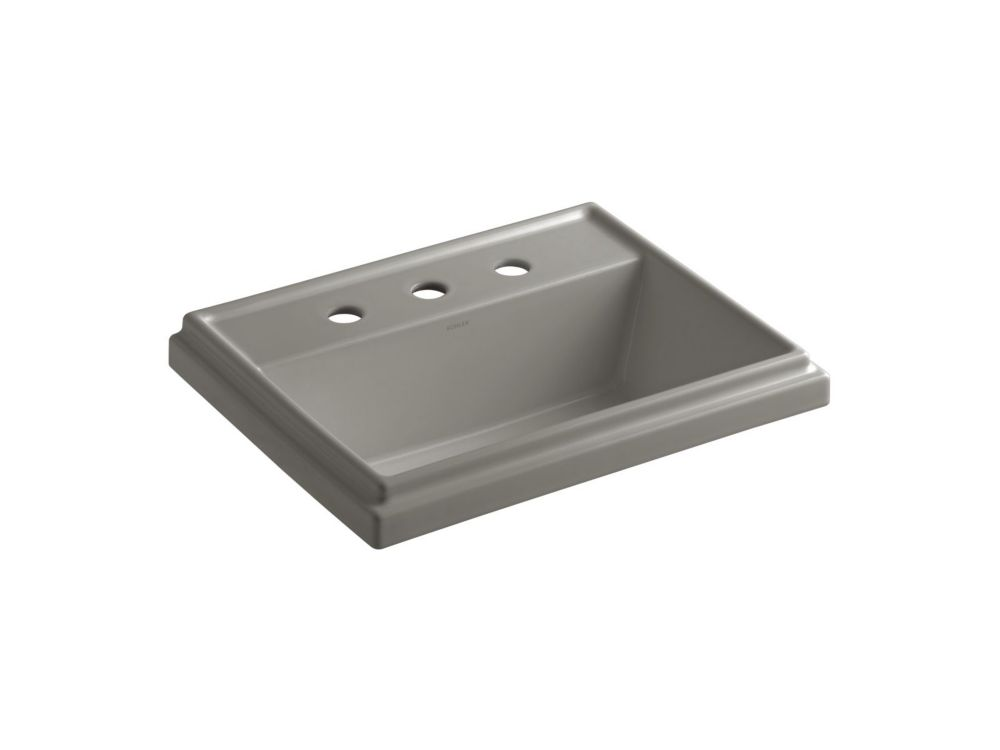 Tresham Rectangular Self-Rimming Bathroom Sink with 8-inch Widespread Faucet Installation