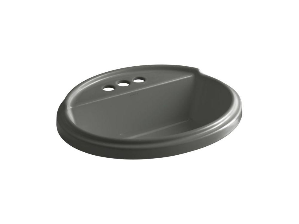 KOHLER Tresham(R) oval drop-in bathroom sink with 4 inch centerset faucet holes