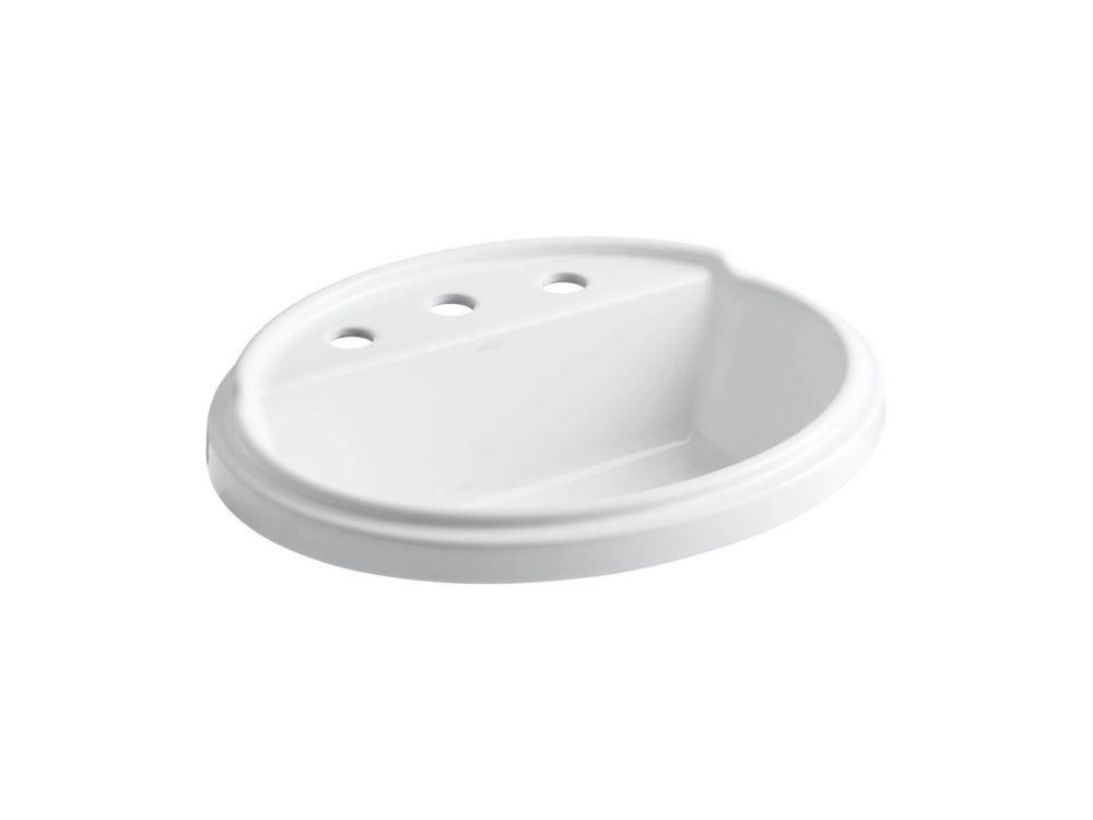 Lavabo ovale à rebord incorporé Tresham(TM) avec orifice d'envergure de 8 po pour robinet