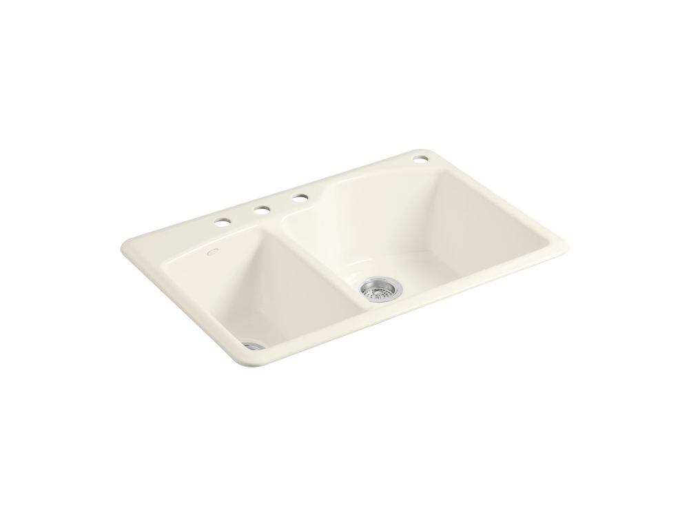 Wheatland(TM) Self-Rimming Offset Double Basin Sink With 4-Hole Faucet Drilling
