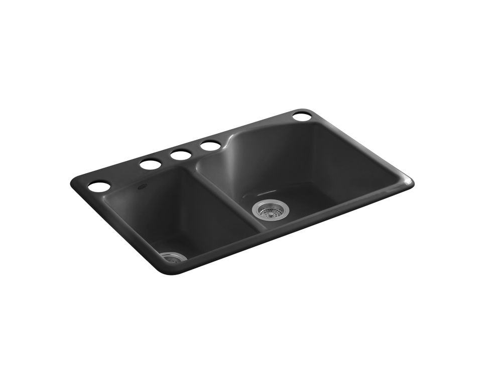 Wheatland(TM) Undercounter Offset Double Basin Sink With Five-Hole Faucet Drilling K-5870-5U-7 Canada Discount