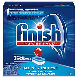 Finish Détergent pour lave-vaisselle, Powerball All in 1, Parfum frais, 25tablettes, pouvoir nettoyant à action rapide