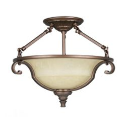 Home Decorators Collection Fairview Semi Flush Mount 16 Inch - Heritage Bronze with Tea Stained Water Glass Shade