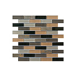 Jeffrey Court Harbor Bay 11 5/8-inch x 11 5/8-inch Glass/Slate Mosaic Wall Tile in Brown