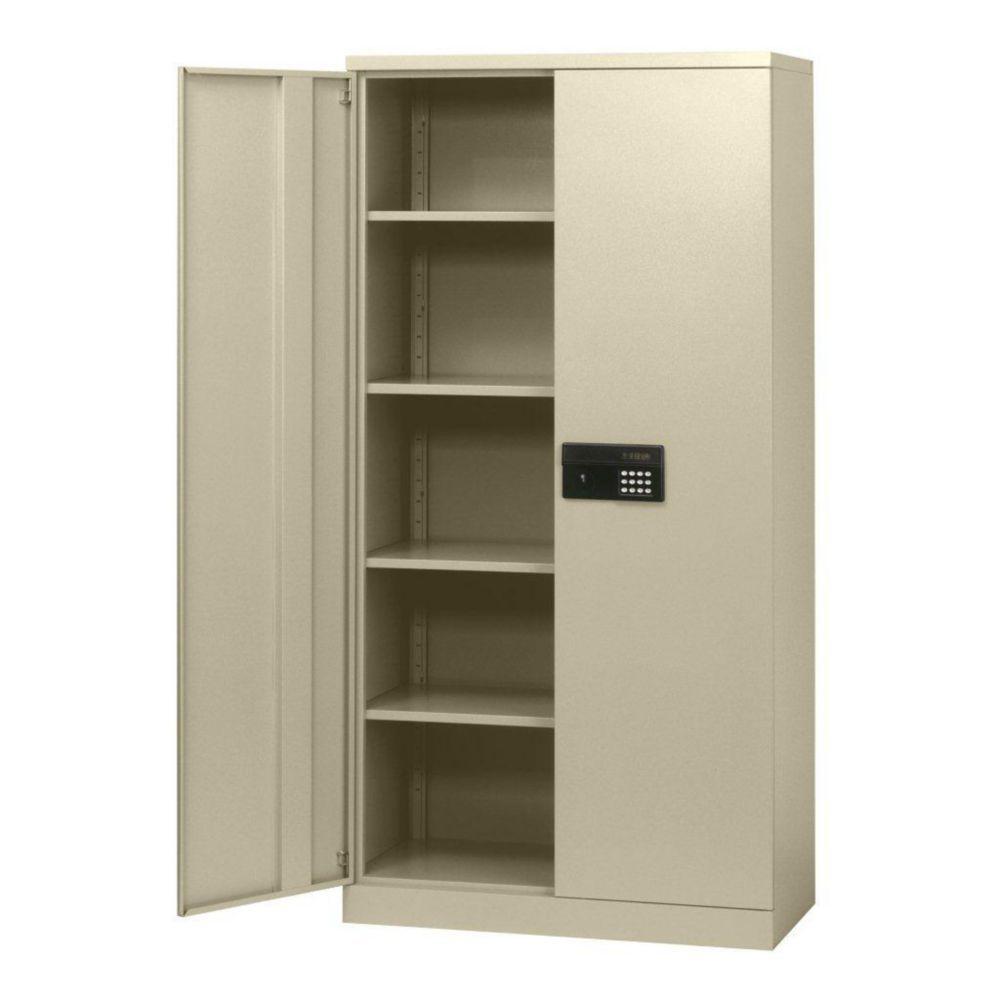"""Cabinet électronique en acier sans clés à assemblage rapide de couleur crème 36"""" l. x 18"""" p. x 72..."""