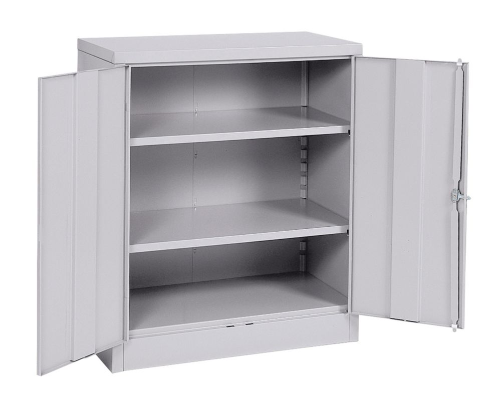 36 in. W x 18 in. D x 42 in. H Quick Assembly Steel Counter Cabinet Dove Gray