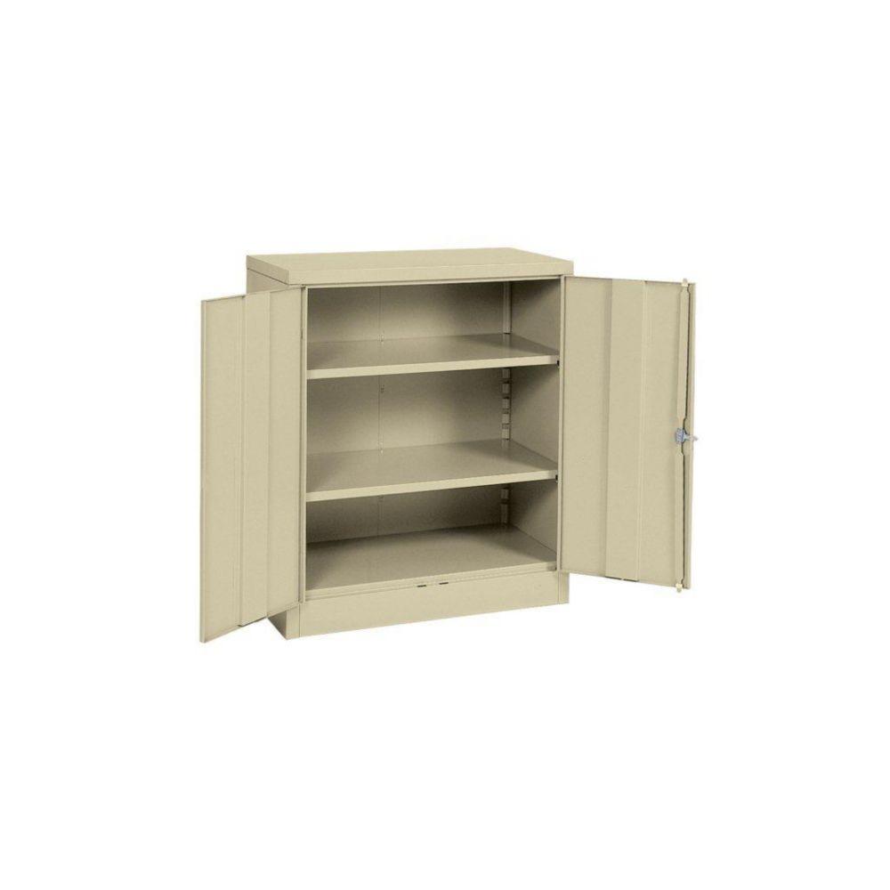 """Cabinet en acier à hauteur de comptoir à assembla rapide de couleur crème 36"""" l. x 18"""" p. x 42"""" h..."""