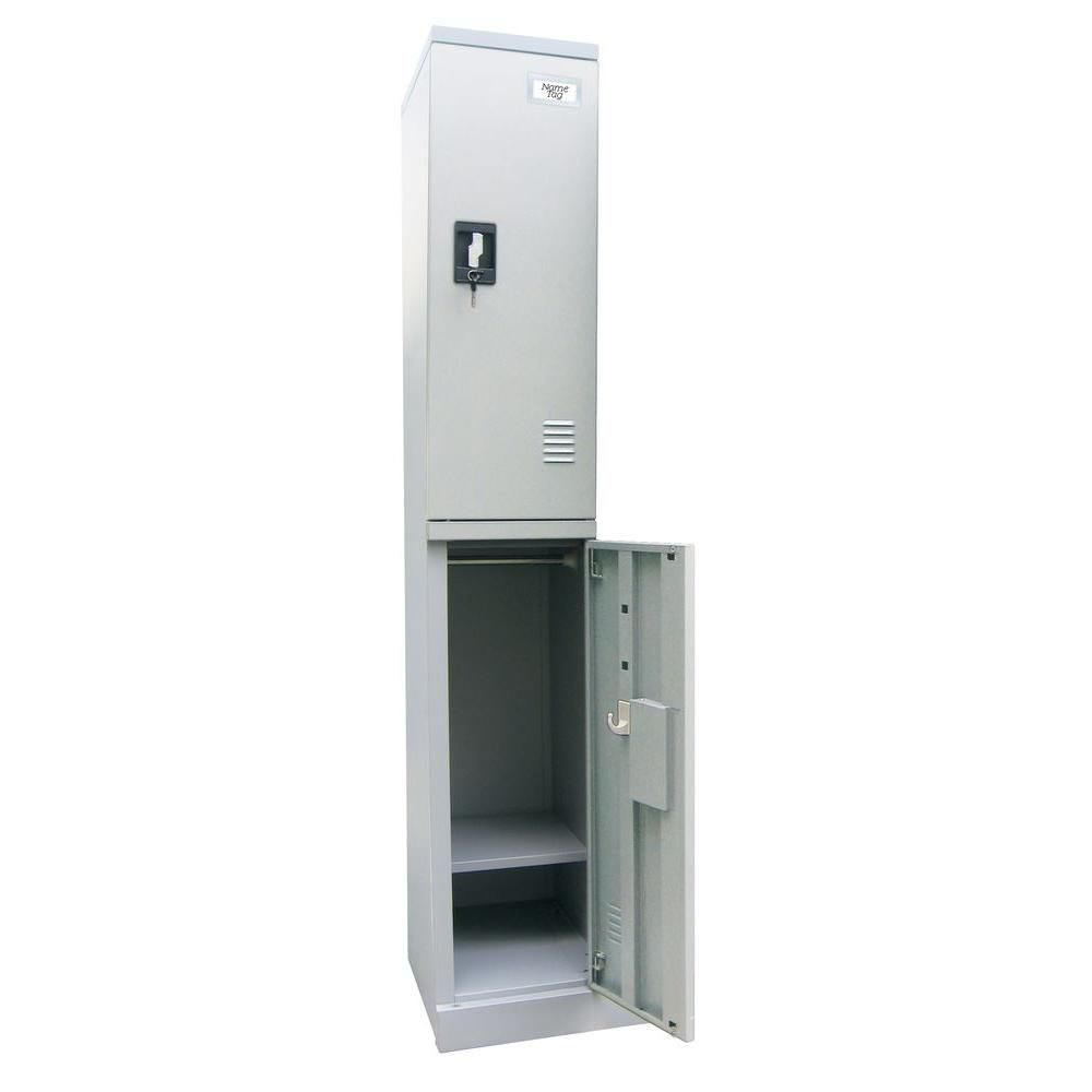 Quick Assembly 72 in. H x 12 in. W x18 in. D Dove Gray Double Tier Locker