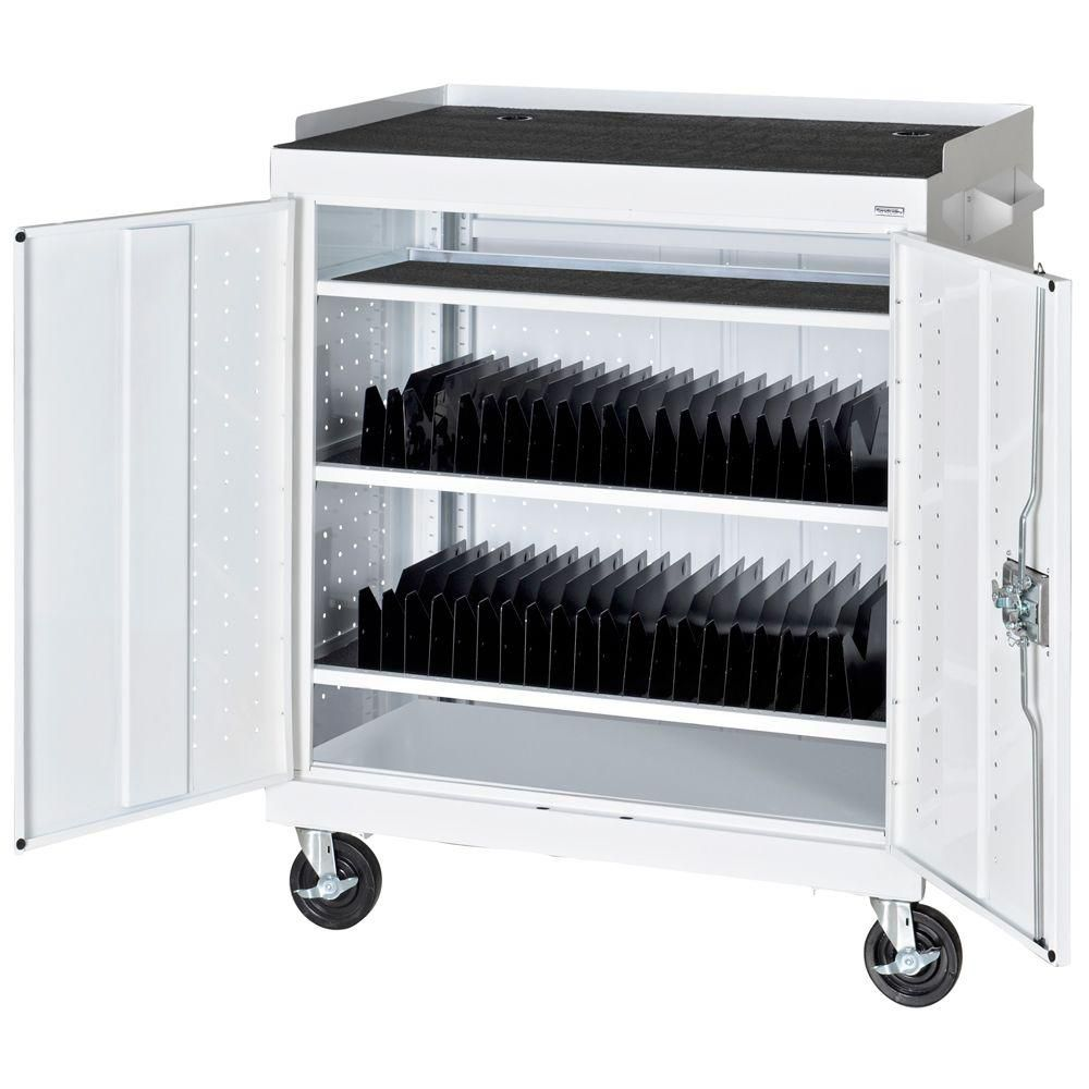 36 in. W x 24 in. D x 43 in. H Mobile Tablet Storage Cart