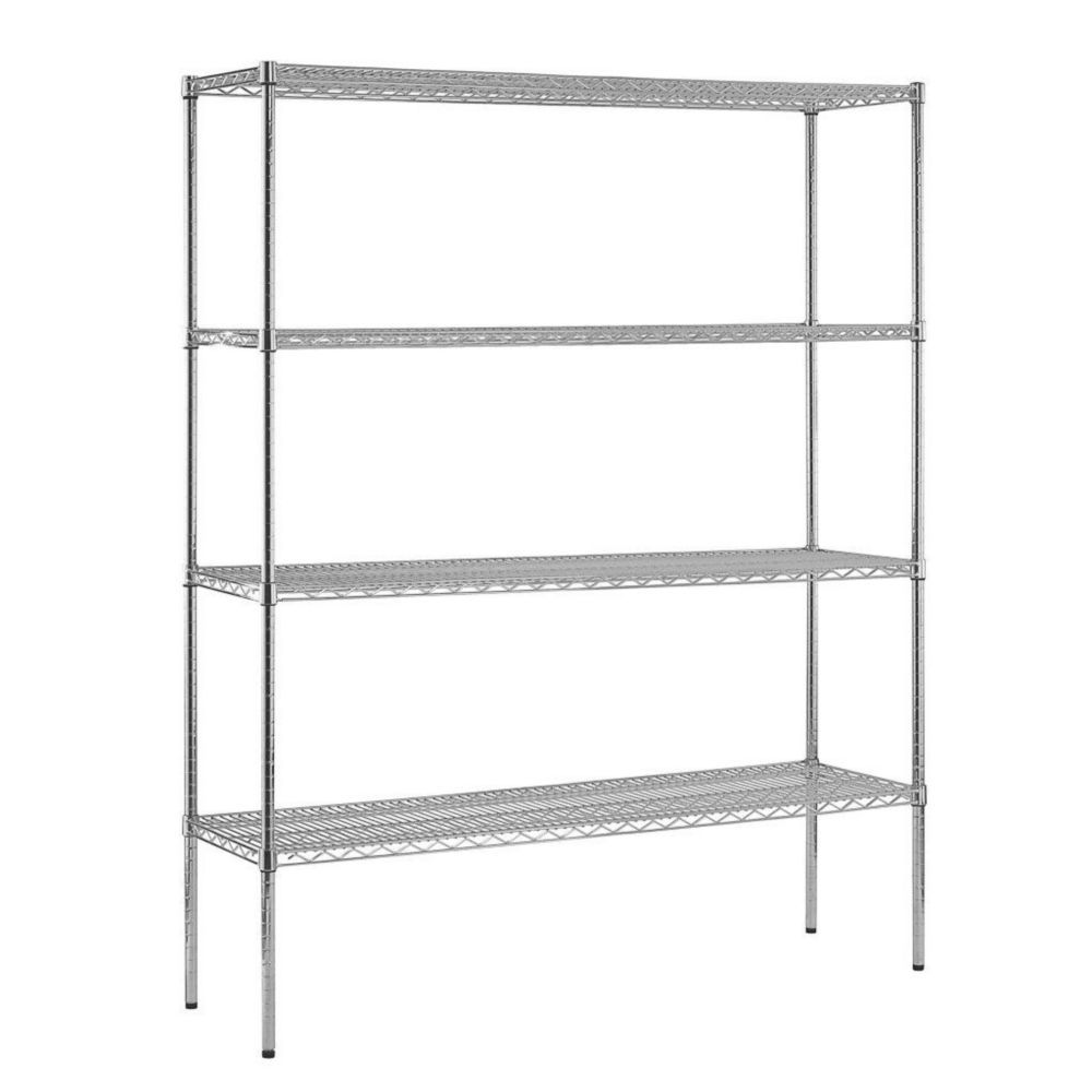 4-Shelf 74 in. H x 60 in. W x 18 in. D Heavy Duty NSF Certified Chrome Wire Shelving