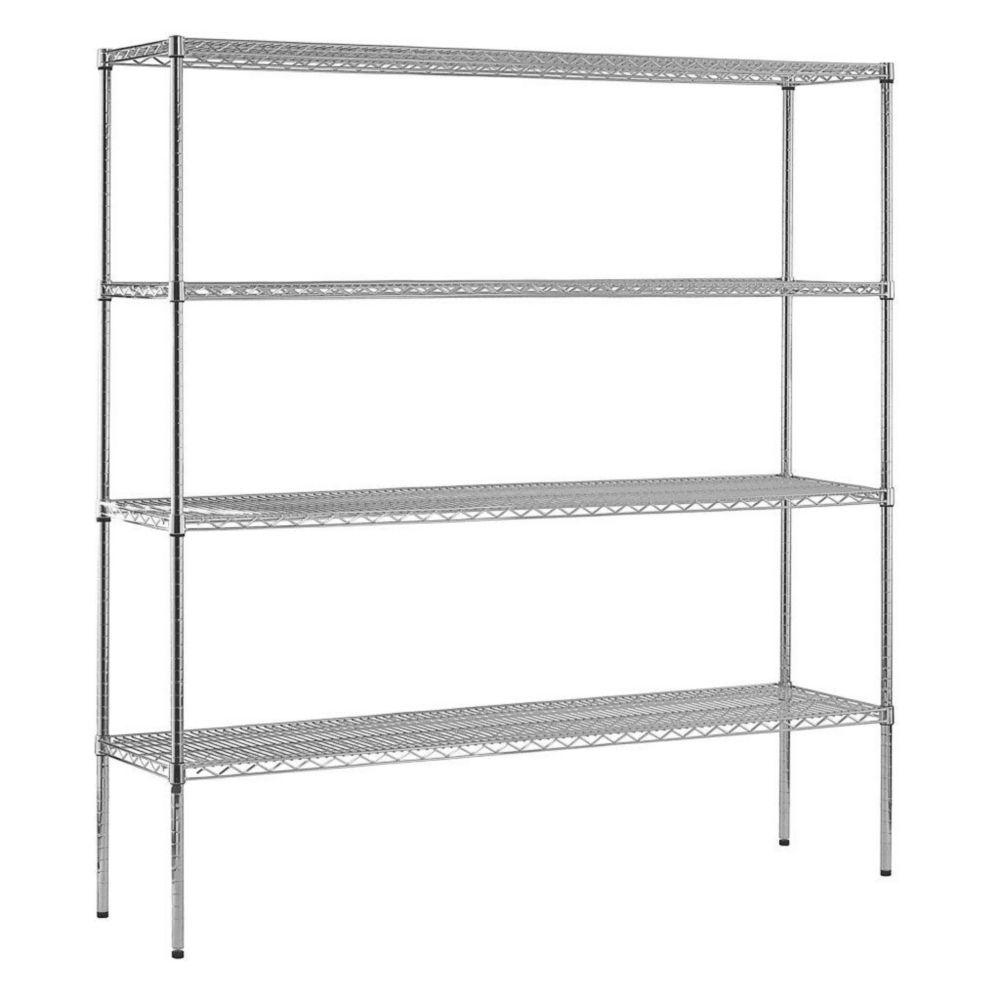 4-Shelf 74 in. H x 72 in. W x 18 in. D Heavy Duty NSF Certified Chrome Wire Shelving