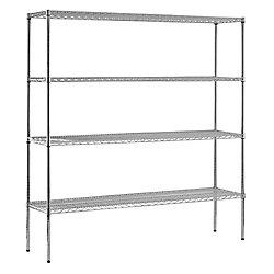 Sandusky 74-inch H x 72-inch W x 18-inch D 4-Shelf Chrome Wire Commercial Shelving Unit